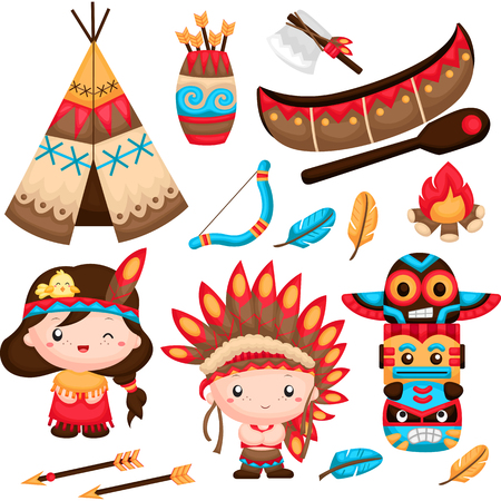 chief: The Native Indian Couple Vector Set