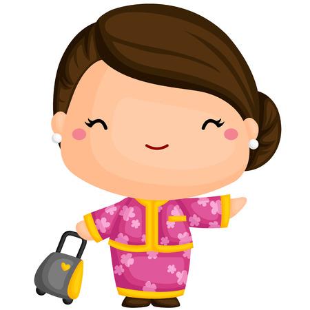 stewardess: Cute Stewardess Illustration
