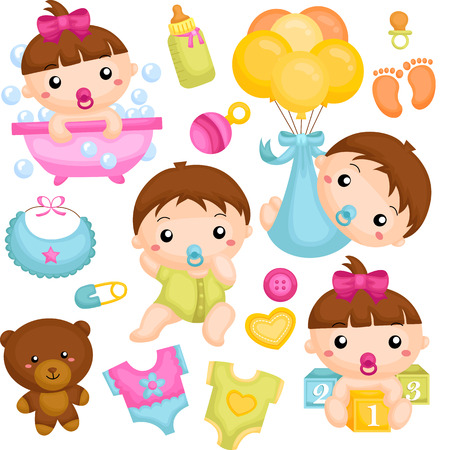 baby illustration: Baby In Action