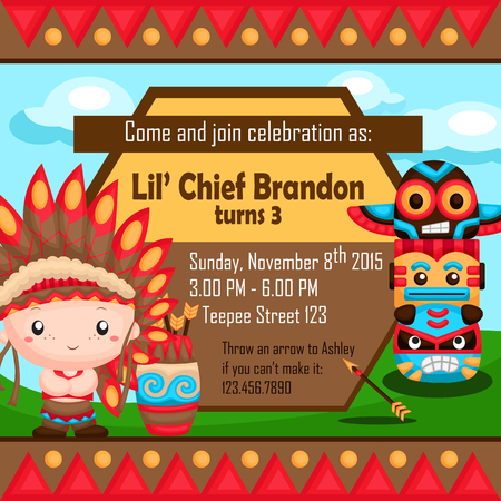 native american indian: The Native American Boy Invitation Illustration