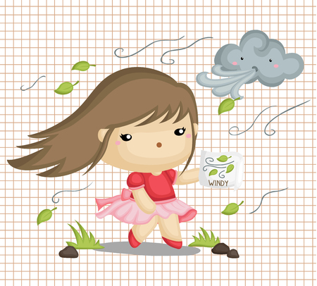 weather: Girl in Windy Weather