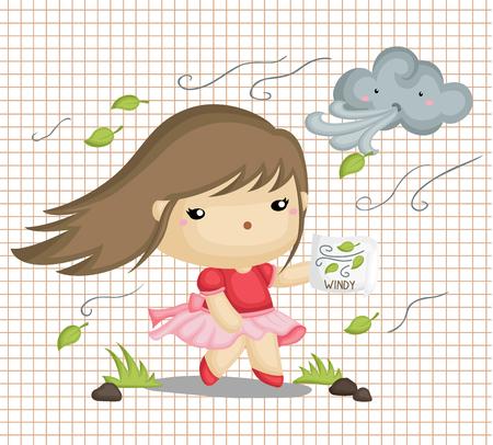 meteo: Ragazza in tempo ventoso Vettoriali