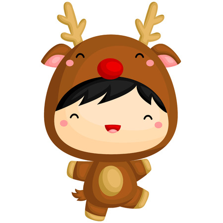 cartoon kid: Cute Boy in Reindeer Costume