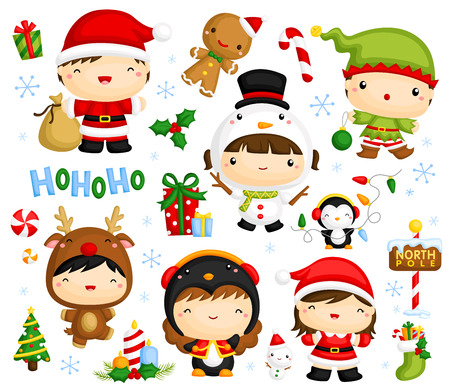 muff: Cute Kids in Christmas Costume Vector Set