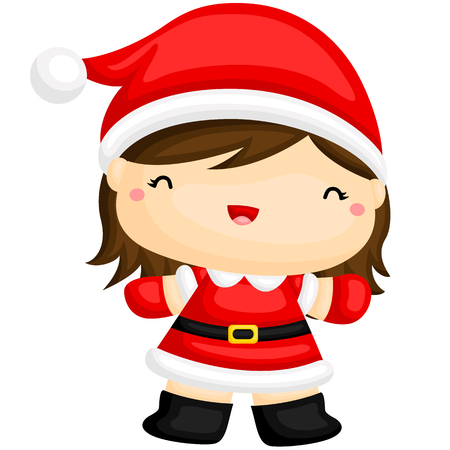 santa girl: Cute Santa Girl Illustration