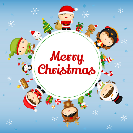 wording: Cute Christmas Kids Card