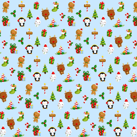 muff: Cute Christmas Items Background Illustration