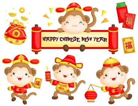 Mono en traje de Año Nuevo chino