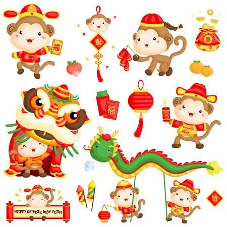 the red dragon: Monkey Year Chinese New Year Vector Set