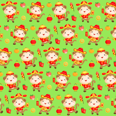 lantern festival: Monkey Chinese New Year Background