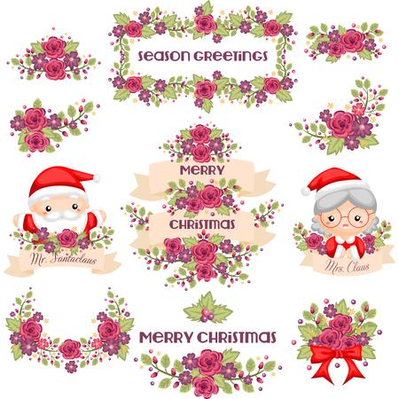 señora: bandera de Navidad linda con el señor y la señora Claus