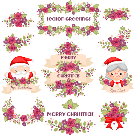 pink banner: Cute Christmas banner with Mr and Mrs Claus Illustration
