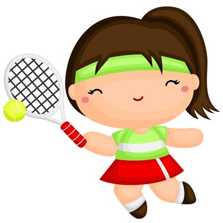 girl tennis: Girl Playing Tennis