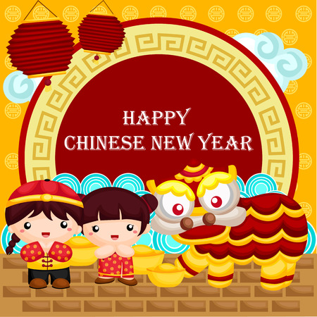 asian children: Greeting card for Chinese New Year