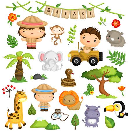 Safari Kids and Animal Vector Set