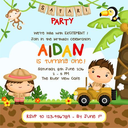 animales safari: Invitación del cumpleaños de los niños Safari Vectores