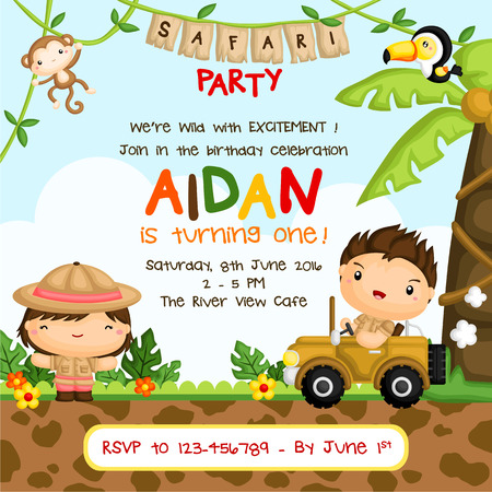 safari animals: Safari Kids Birthday Invitation Illustration