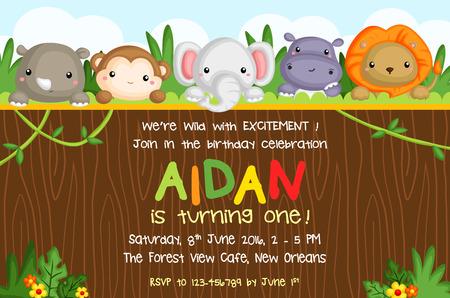 Safari Animal Birthday Card Reklamní fotografie - 50982910