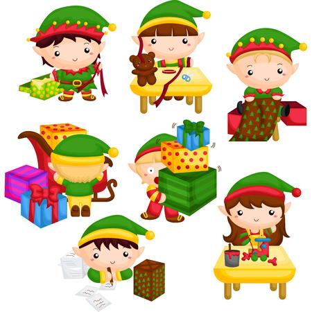 Elf nel laboratorio di Babbo Natale Vettoriali