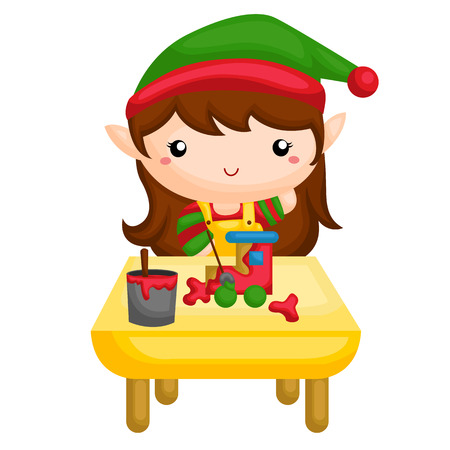 Elf painting the toys