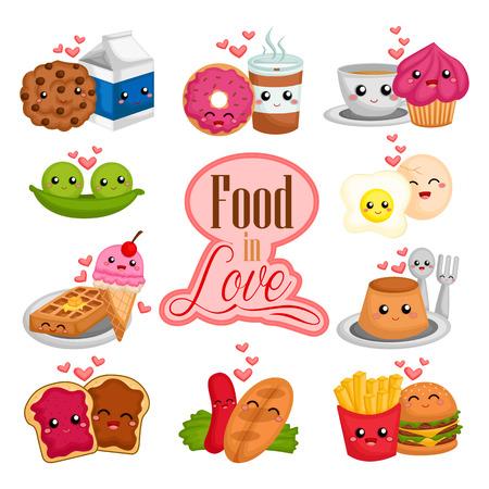 huevo caricatura: Par de los alimentos en el amor