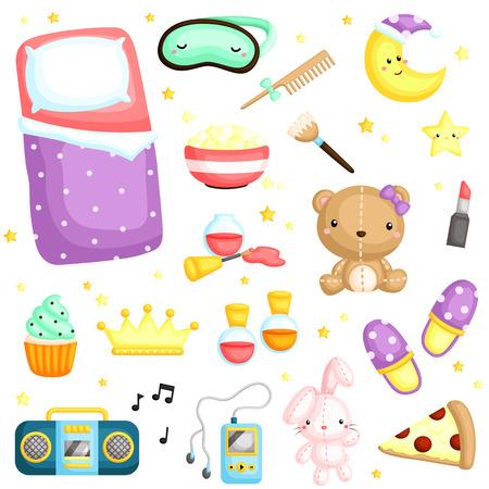 slumber party: Slumber Party Items Illustration