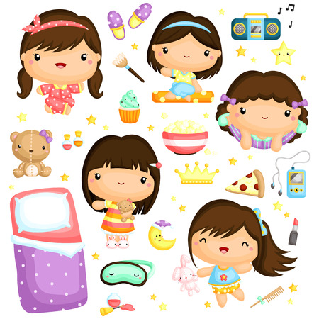 slumber party: Sleepover Girl Vector Set