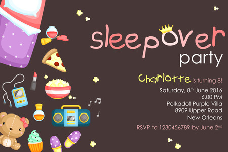 sleepover: Sleepover Party Invitation Illustration