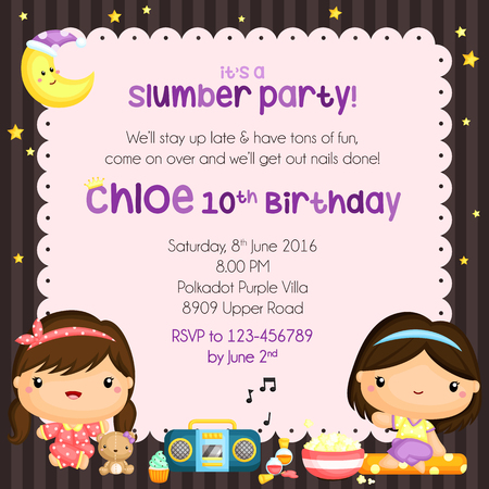 invitacion fiesta: Invitación de la fiesta de pijamas del cumpleaños Vectores