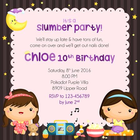 slumber party: Slumber Party Birthday Invitation
