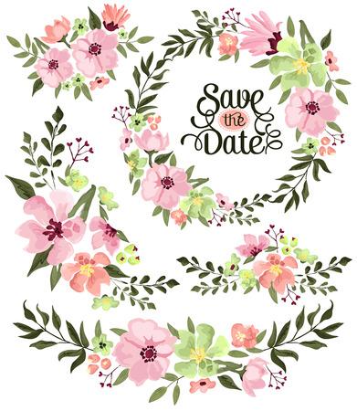 florale: Frühlings-Blumen-Kranz Illustration