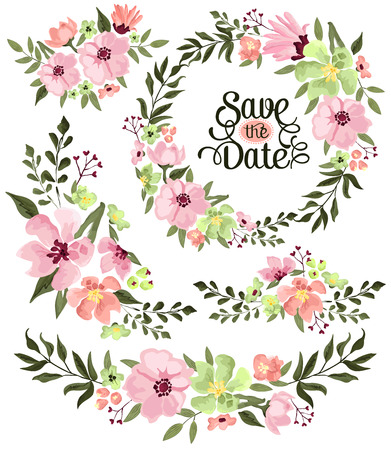 Spring Flower Wreath Illustration