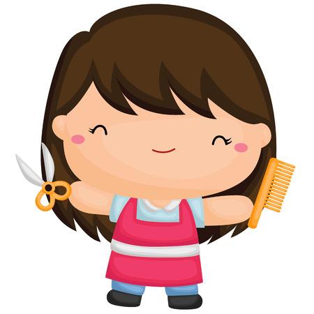 かわいい美容院の女の子  イラスト・ベクター素材
