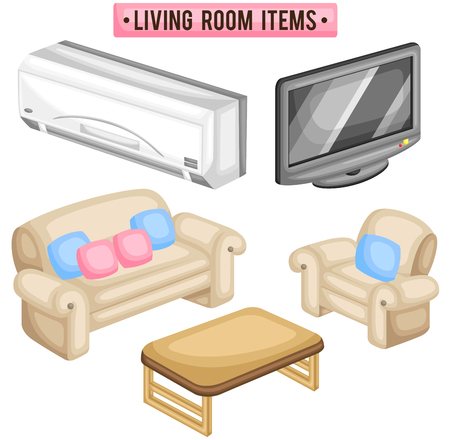 drawing room: Living Room Items Illustration