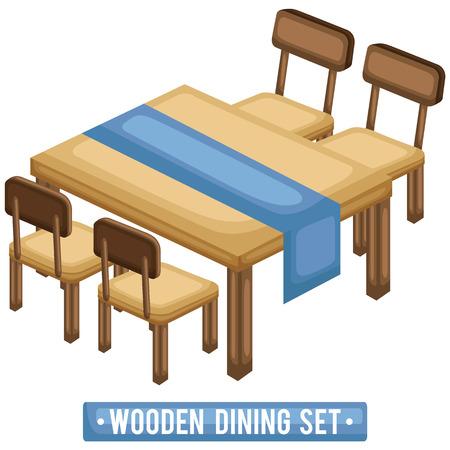 나무 식탁 세트 일러스트
