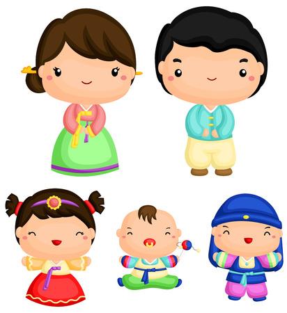 traditional costume: Korean Family