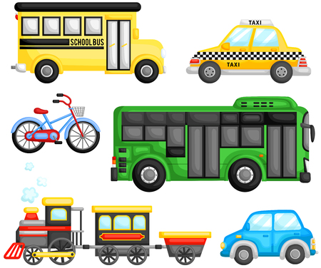 public school: Land Transportation Vector Set