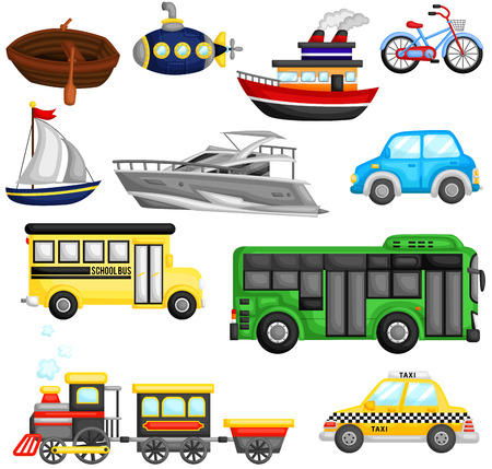 school transportation: Transporte Vector Set