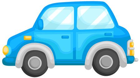 rearview: Cute Blue Car Illustration