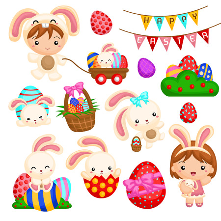 cartoon easter basket: Kids and easter bunny