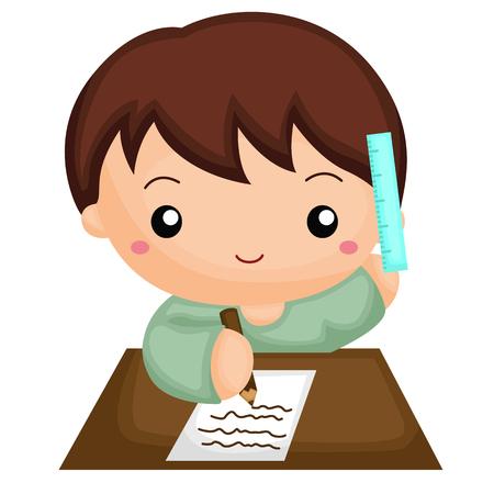 infant baby: Boy doing his homework