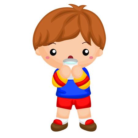 乳幼児: ミルクのガラスを飲む少年
