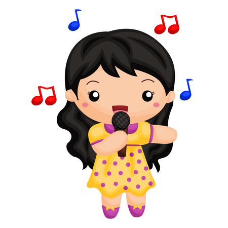 to laugh: Girl singing a song Illustration