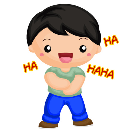 thrilled: Boy laugh out loud Illustration