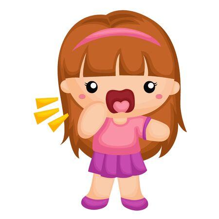 shouting girl: A shouting girl Illustration