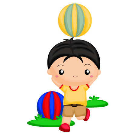 ball park: Boy playing with balls Illustration
