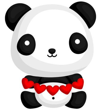 cute panda: Panda Holding Heart Paper