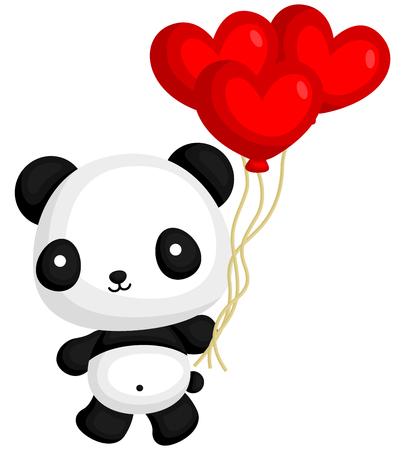 cartoon panda: Panda Holding Heart Balloon