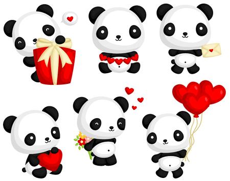 panda cartoon: Panda in Love Vector Set Illustration