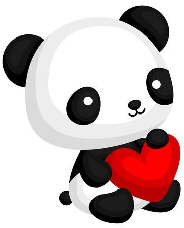 Panda con Almohada corazón Ilustración de vector